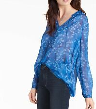 Lucky Brand Blue Paintbrush Floral  Long Sleeve Blouse Sz S, M NWT MSRP $89.50