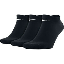 MENS NIKE BLACK PACK OF 3 NO SHOW SOCKS SPORTS GYM FITNESS