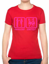 Problem Sorted Gone To Lunch Funny Ladies T Shirt  Size S-XXL