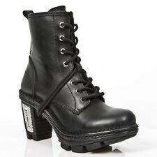 New Rock Women Leather Botas Estilo Motero Vintage Plata Tacón - M. NE0T008.S1