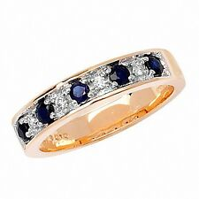 Eternity Ring Sapphire and Diamond Yellow Gold Half Eternity size J-Q Appraisal