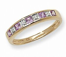 Eternity Ring Pink Sapphire and Diamond Yellow Gold Anniversary Certificate