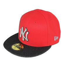 New Era Diamond Denim Nueva York Yankees Gorra Ajustada MLB, rojo/gris / Black ,