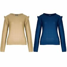 Womens Ladies Knitted Peplum Ruffle Frill Sleeve Round Neck Sweater Jumper Top