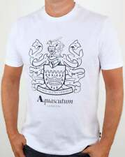 Aquascutum Aldis Crest T Shirt in White - short sleeve cotton graphic tee