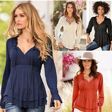 New Office Lady Long Sleeve Blouse Loose V Neck Casual Elastic Double Hem Shirt