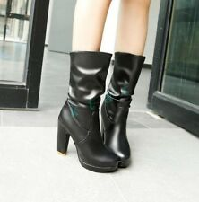 New Womens Pull On High Heels Block Punk Mid Calf Boots Shoes Pleated Leather Sz