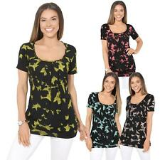 Womens Ladies Pleated T Shirt Soft Loose Blouse Baggy Print Long Top Tunic Plus