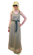 SALE! NEW 'WAVE' SUPREMEBEING RETRO 60S DUAL FABRIC MAXI DRESS IN TAUPE K35