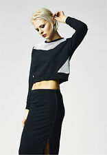 Ladies Cropped Mesh Terry Crew Urban Classics Streetwear Maglia Pullover Donna