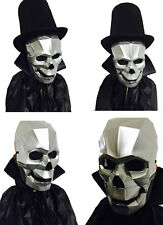 Cyborg Skull Silver Mask Full Front Face Long Cape Halloween Fancy Dress Costume