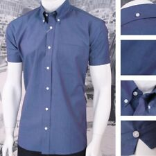 Classic Relco Mod Retro 60's Button Down Two Tone Tonic S/S Shirt Blue