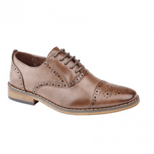 Goor FRANCIS Boys Leather Lined Lace Up Smart Formal Brogue Oxford Shoes Brown