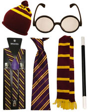 Harry Potter Maroon Yellow Stripped Tie Braces Scarf Magic Wand Hat Glasses Lot