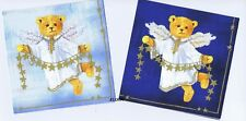 SERVIETTES EN PAPIER OURSON ANGE ETOILES. PAPER NAPKINS TEDDY BEAR AND STARS