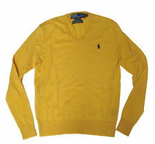Polo Ralph Lauren Mens Italy Merino Wool V Neck Yellow Custom Pony Logo Sweater