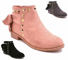 LADIES WOMENS CHELSEA ANKLE BOOTS STUDDED BOOTS LOW FLAT BLOCK HEEL SHOES SIZE