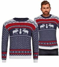 Mens Christmas Reindeer Vintage Jumper Boys Warm Sweater Knitted Casual Xmas UK