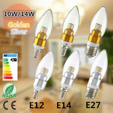 E12 E27 E14 10W 14W LAMPADA BIANCA CALDA LED LAMPADARIO CANDLE LIGHT DIMMERABILE