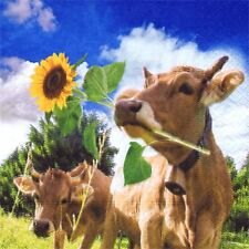 3 SERVIETTES EN PAPIER VACHES ET TOURNESOLS. 3 PAPER NAPKINS COW AND SUNFLOWERS