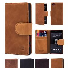 32nd Premium Series - Real Leather Book Wallet Case For Sony Xperia Z5 Compact