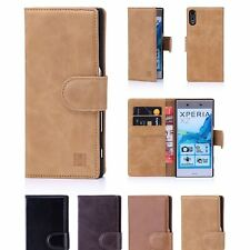 32nd Premium Series - Real Leather Book Wallet Case Cover For Sony Xperia XZ