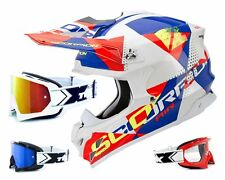 SCORPION vx-15 EVO Mx Casco AKRA Blanco Rojo Azul incl. two-x RACE Gafas de