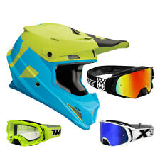 THOR SECTOR Nivel CASCO CROSS MOTOCROSS MX Azul Verde two-x Cohete Gafas
