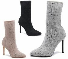 LADIES CALF HIGH HEEL POINTY TOE DIAMANTE LYCRA STRETCH SHORT ANKLE BOOTS SIZES