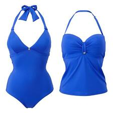 Lepel Lagoon Non-Wired Halterneck Swimsuit or Balconette Tankini Top Blue