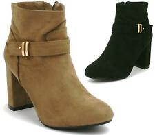 Womens Ladies Block Heel Ankle Boots Mid High Buckle Strap Faux Suede Zip Size