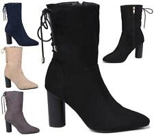 LADIES WOMENS HIGH BLOCK HEEL FAUX SUEDE ZIP SHOES NEW ANKLE BOOTS SIZE
