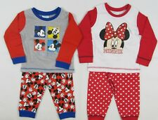 Baby Babies Disney Mickey Mouse Minnie Blue Red Pyjamas Pjs Bottoms T Shirt 1 2