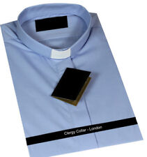 LIGHT BLUE - CLERGY TUNNEL COLLAR SLIP LONG SLEEVED SHIRT POLY COTTON RRP £29