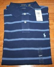 NEW NWT Mens Polo Ralph Lauren Custom Fit Polo Shirt Pony Logo Navy Striped *F4