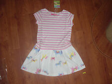 BNWT GIRLS JOULES CREAM HORSE SUMMER DRESS IN AGE 3-4 YRS.rrp £19.95