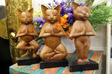 30cm TALL HANDCARVED WOOD YOGA CATS HINDU YOGA SCULPTURE CHRISTMAS GIFTS