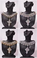 STATEMENT FAUX CRYSTAL DIAMANTE RHINESTONE DETAIL CROSS PENDANT CHOKER NECKLACE