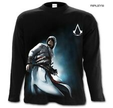 Spiral Assassins Creed T Shirt ALTAIR Side Print L/Sleeve Black Flag All Sizes