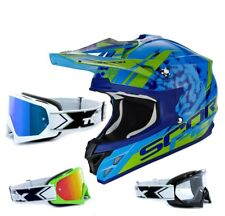 SCORPION vx-15 EVO AIR CASCO CROSS kistune azul verde incl. two-x RACE Gafas de