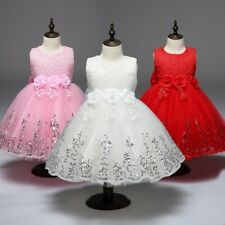 New Cute Wedding Princess Girls Dress Sequin Flowergirl Lace Party Kids Clothes