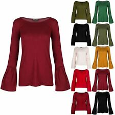 Womens Ladies Round Neck Peplum Ruffle Frill Long Sleeve Stretchy T Shirt Top