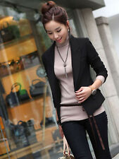 Women Lady Blazer Suit Jacket Stand Notch Collar Tops Coat One Button Career