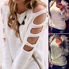 Women Long Hollow Sleeve Jumper Pullover Cold Shoulder Knitted Blouse Sweater
