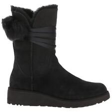 Ugg Australia Brita Black Womens Sheepskin Mid-Calf Satin Laces Pull-on Boots