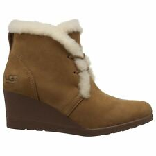 Ugg Australia Jeovana Chestnut Womens Suede Waterproof Wedge Ankle Lace-up Boots