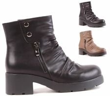 LADIES WOMENS FAUX LEATHER COMBAT ARMY MILITARY WORKER BIKER ZIP ANKLE BOOTS