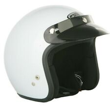 Spada Open Face Motorcycle Motorbike Double D Peak Approved Helmet - Plain White