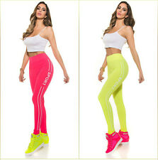 NUOVO alla moda Highwaist Sport Leggings fitness corsa jogging NEON! 1645