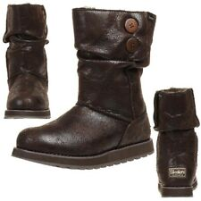 Skechers Keepsakes Leather Esque Stiefel Damen Winterschuhe gefüttert CHOC
